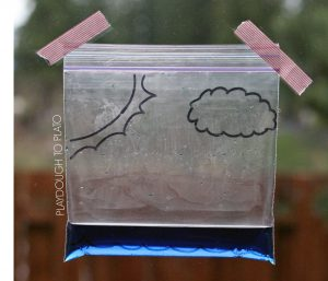 water cycle in a bag by Playdough and Plato