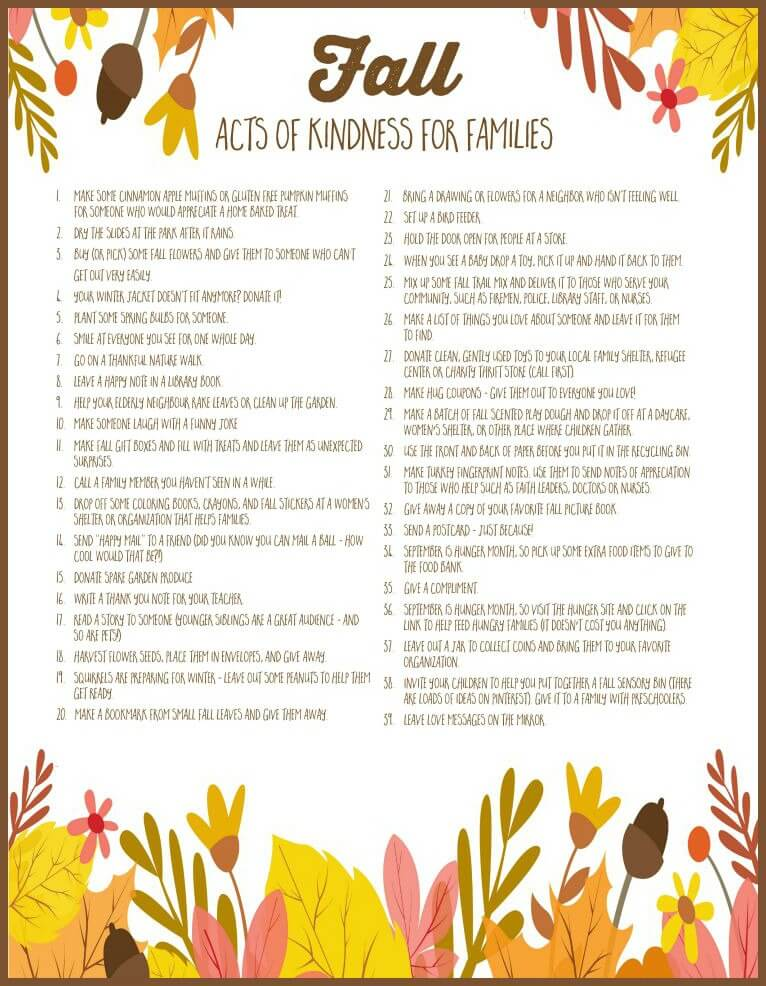 fall acts of kindness